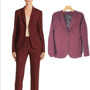 Theory wool blazer jacket deep mulberry purple